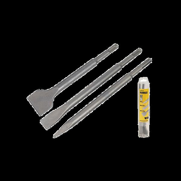 Set 3 accesorii SDS-Plus DeWalt (Dalta ascutita 250 mm; Dalta lata 20X250 mm; Dalta lata 40X250 mm)